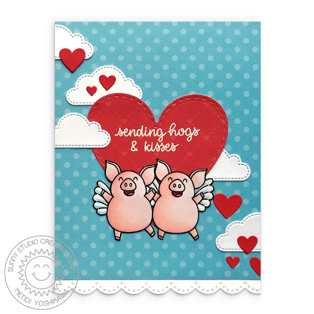 Sunny Studio Stamps: Sending Hogs & Kisses Flying Pigs Love Themed Valentine's Day Card (using Pet Sympathy Stamps, Fluffy Clouds Dies, Stitched Heart Dies, Stitched Scalloped Dies & Dots & Stripes Pastel 6x6 Paper)