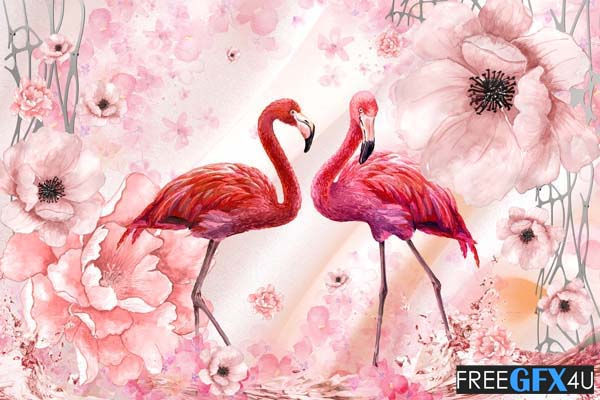 Flamingo 3D Wall Background PSD File