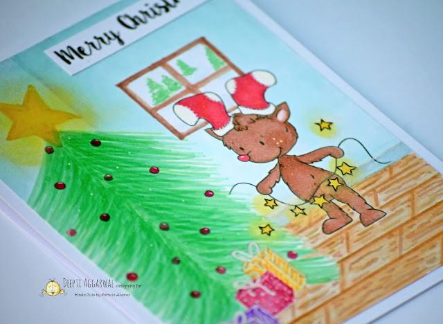 Reindeer with lights Christmas card