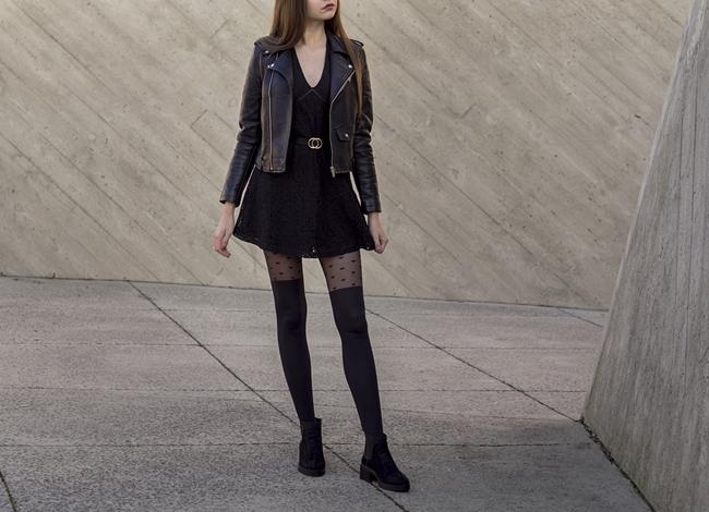 cała czarna stylizacja z sukienką
