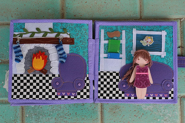 Dollhouse for Thea, handmade fabric quiet book by TomToy