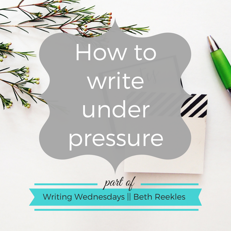 What do you do to help yourself when you're under pressure and trying to write? I share a few tips in this post.