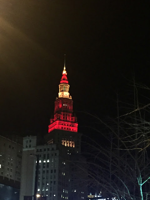 Venture & Roam: Terminal Tower lit up in Crimson and Gold for the Cavs