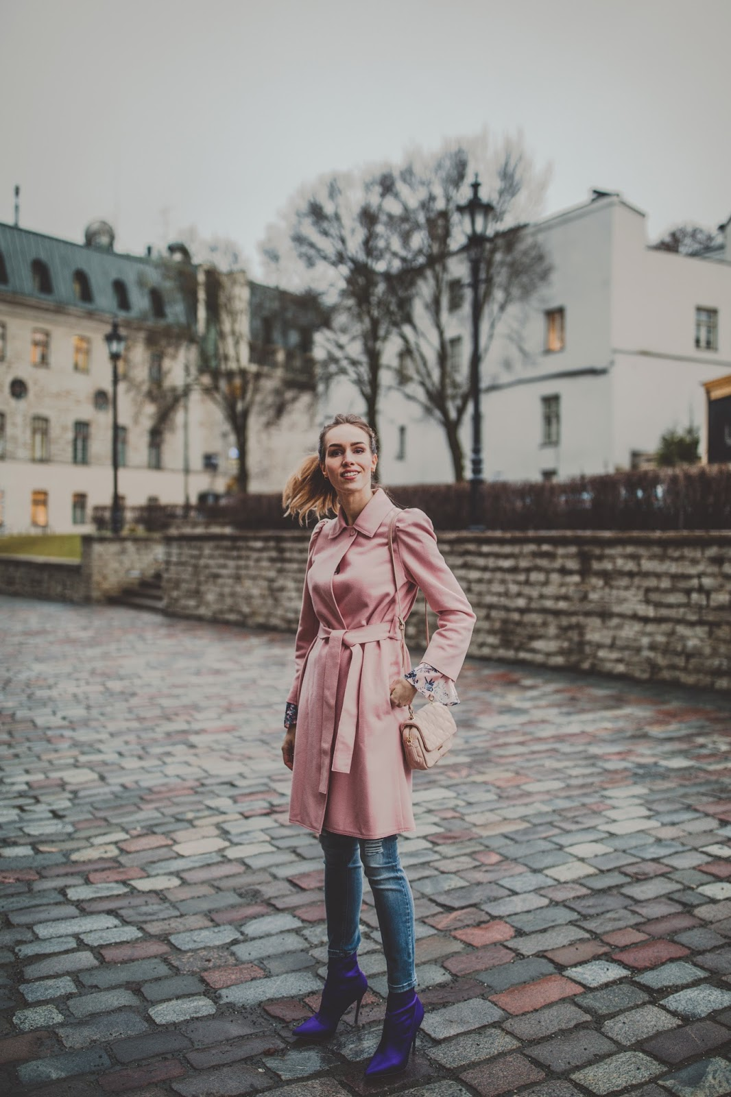 pink coat purple sock boots fall street style