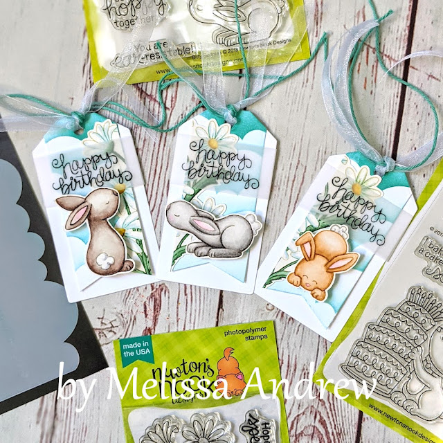 Trio of birthday Tags by Guest Designer Melissa Andrew   Bitty Bunnies and  Dainty Daises Stamp Sets and Clouds Stencil by Newton's Nook Designs #newtonsnook