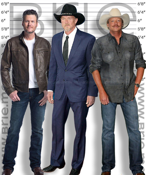 Alan Jackson height comparison with Blake Shelton and Trace Adkins
