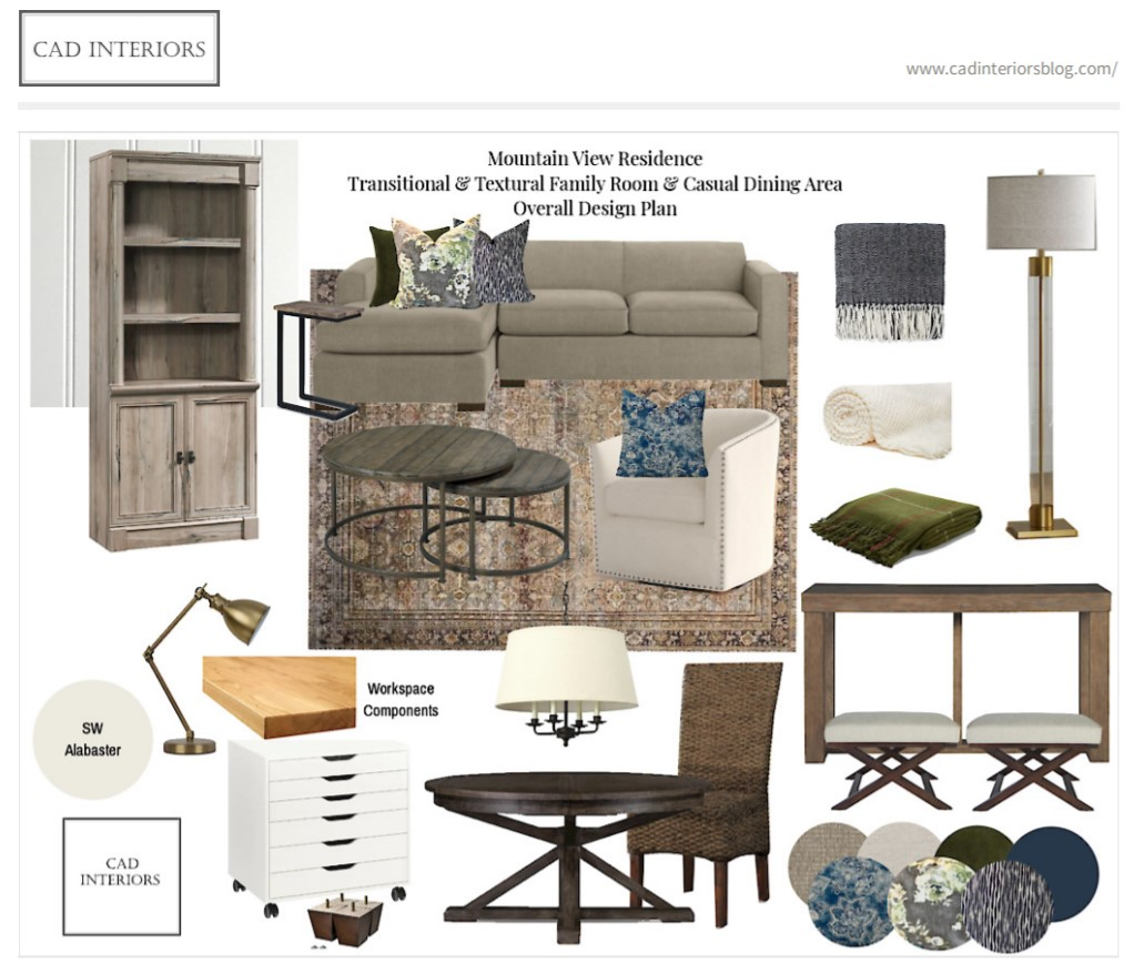 CAD Interiors E-Design Project - Transitional and Textural Multi-Purpose Family Room Dining Area Home Workspace
