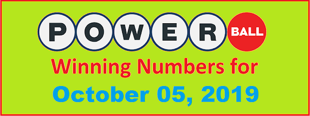 PowerBall Winning Numbers for Saturday, October 05, 2019