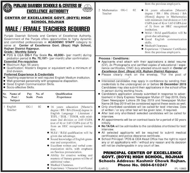 Punjab Daanish Schools New Teaching Jobs 2019