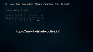 Disney+ Hotstar on the search bar by using the virtual keyboard