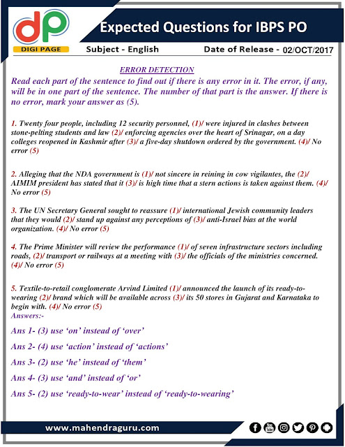 DP | Expected Questions For IBPS PO | 02- 10 - 2017