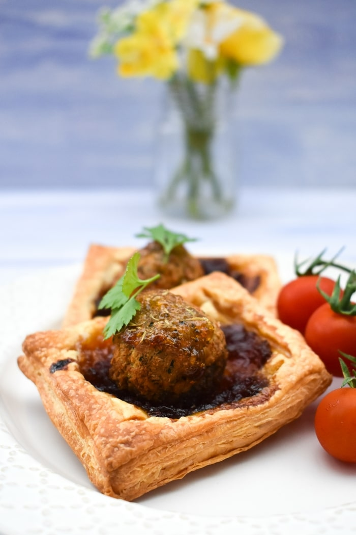 vegan falafel pie on a late with cherry tomatoes
