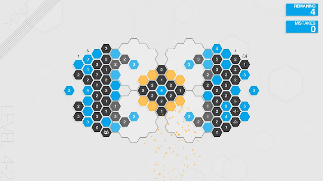Screenshot of one of the puzzles from Hexcells Infinite