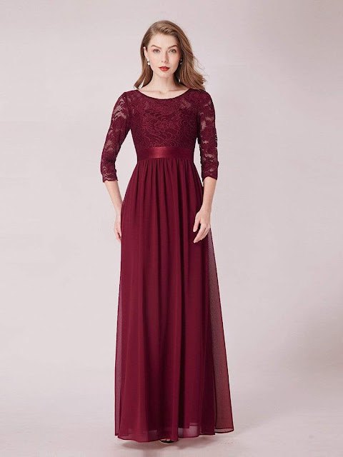 See-Through Floor Length Lace Evening Dress with Half Sleeve