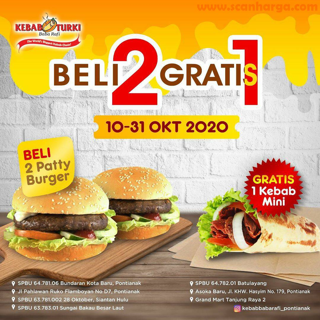 Promo KEBAB TURKI BABA RAFI Beli 2 Gratis 1 + Free 1 Kebab Mini [Berlaku juga untuk Pemesanan via Gofood & Grabfood]