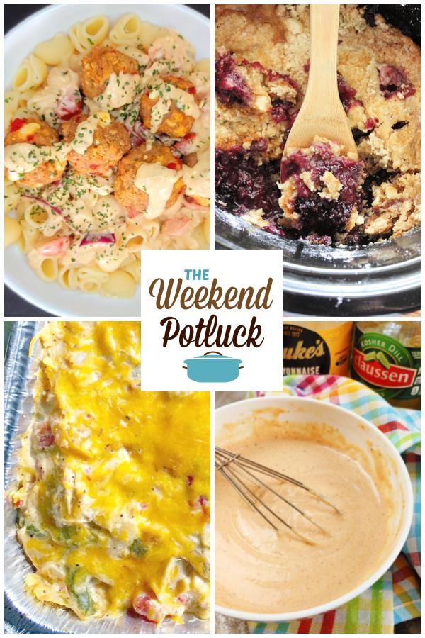 A virtual recipe swap with Greek Meatball Pasta, Crock Pot Mixed Berry Cobbler, King Ranch Chicken, Shut Yo' Mouth Sauce and dozens more!