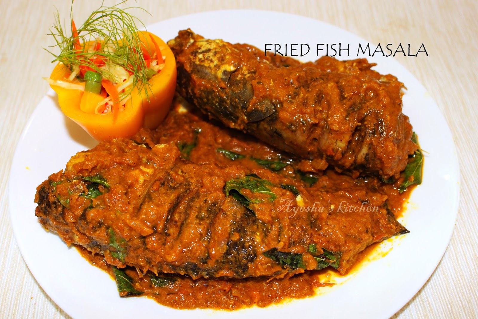 Varal bral fish recipe fried fish masala gravy food lite for Frying fish recipes