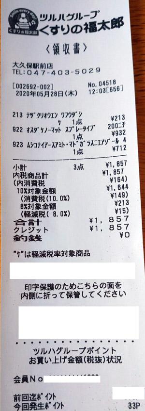 くすりの福太郎 大久保駅前店 2020/5/28 のレシート
