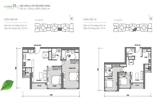 09 và 10  từ tầng 4 đến tầng 39 The Arcadia Vinhomes Gardenia