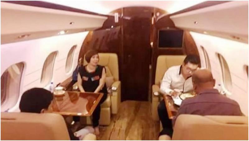 Wali Kota Medan Dzulmi Eldin dalam jet pribadi menuju Taiwan