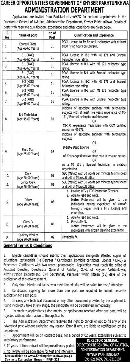 dministration Department Government Jobs in KPK August 2018 - PCCA helicopter Pilot