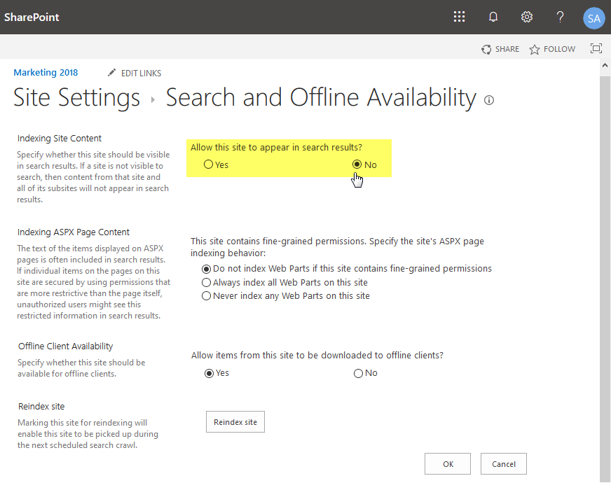 sharepoint online exclude site collection from search
