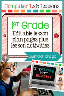 1st grade technology lesson plans and activities for the entire school year that will make a great supplement to your technology curriculum. These lesson plans and activities will save you so much time coming up with what to do during your computer lab time. Ideal for a technology teacher or a 1st grade teacher with mandatory lab time. All of the work is done for you!