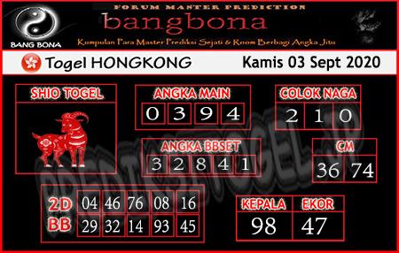 Prediksi Bangbona HK Kamis 03 September 2020