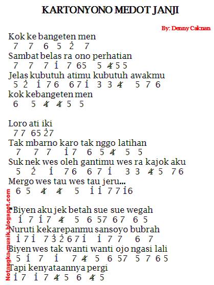 Not Angka Pianika Lagu Kartonyono Medot Janji Denny Caknan