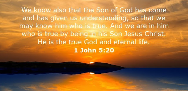 We know also that the Son of God has come and has given us understanding, so that we may know him who is true. And we are in him who is true by being in his Son Jesus Christ. He is the true God and eternal life.