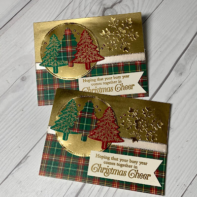 Pine Tree Christmas Cards using Stampin' Up! Perfectly Plaid Stamp Set