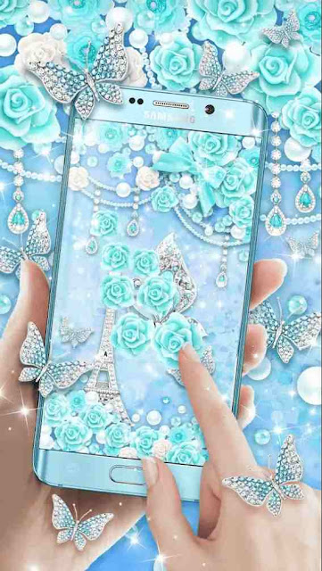 Turquoise diamond butterfly live wallpaper