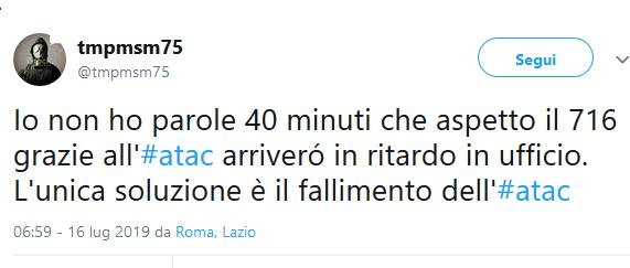 Situazione trasporto pubblico Roma martedì 16 luglio