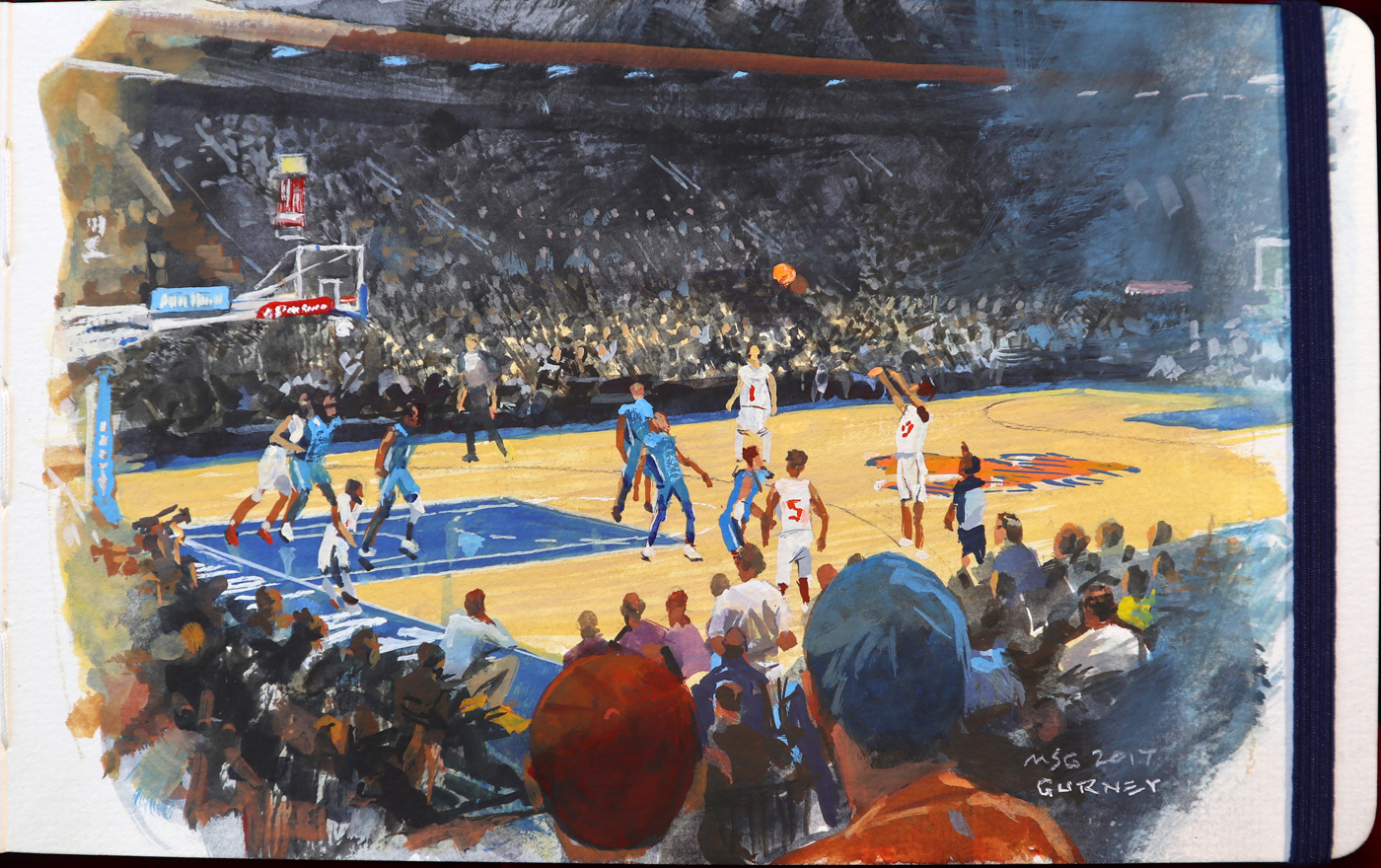 Knicks Game, Madison Square Garden, Gouache