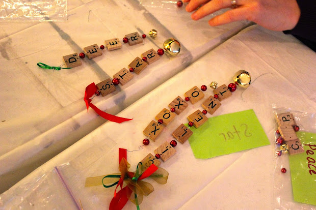 Christmas Ornaments with Scrabble Tiles