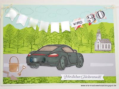 Besondere Geburtstagskarte für einen Porschefahrer Stampin' Up! www.eris-kreativwerkstatt.blogspot.de