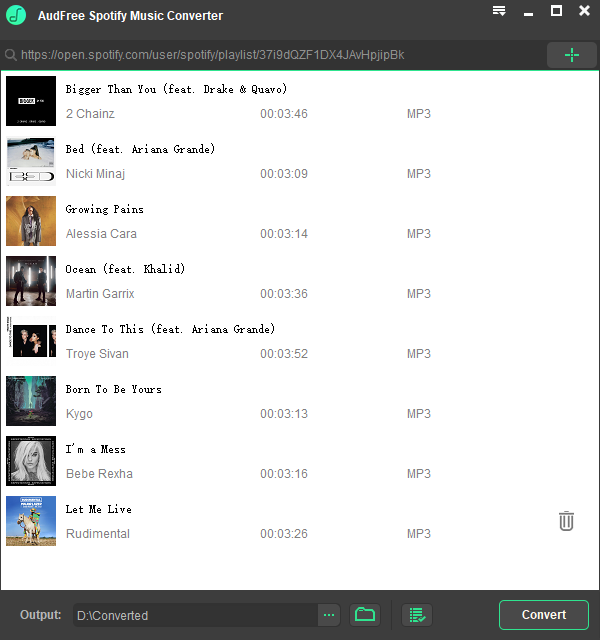 AudFree Spotify Music Converter for Windows lets you freely