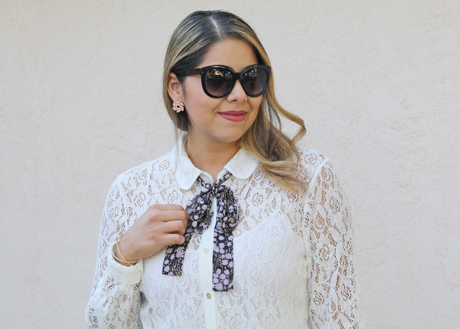 Latina fashion blogger, latina lifestyle blogger, latina fashion, lc kohls top, lace top with bow tie