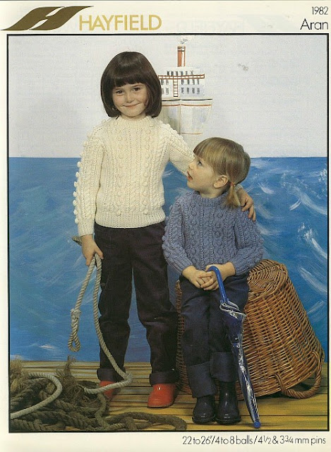 1982 Kids Aran Sweaters Knitting Pattern