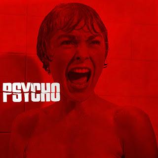 Cartel rojo Psicosis: Texto Psycho y el rostro de una mujer gritando con la cara mojada (fuera de la ducha)