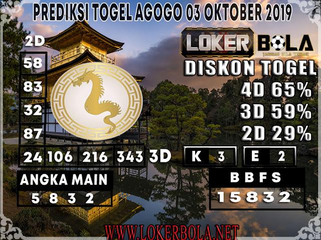 PREDIKSI TOGEL AGOGO LOKERBOLA 03 OKTOBER 2019