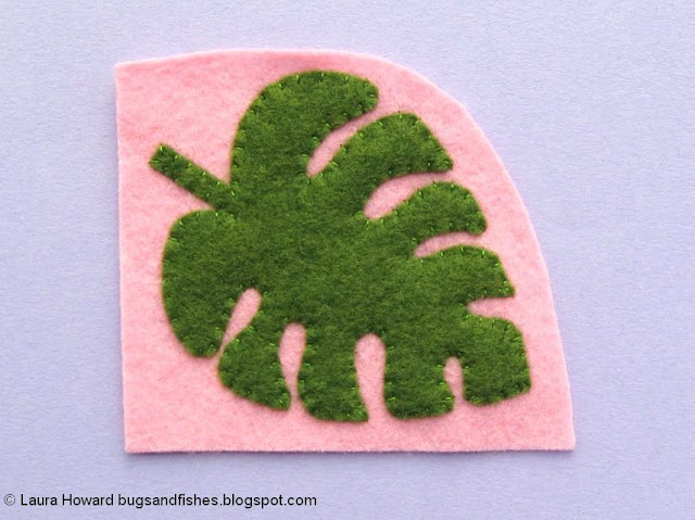Felt Monstera Leaf Brooch Tutorial: sew the leaf in position