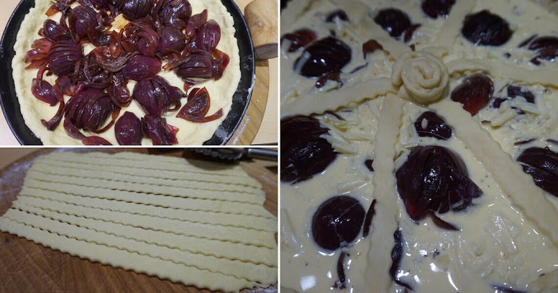 Balsamico-Zwiebelkuchen - Teig belegen