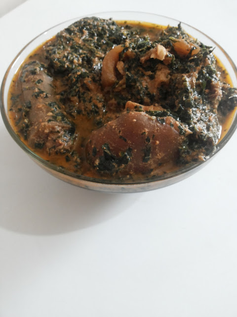 Egusi, tomatoes in vegetable soup