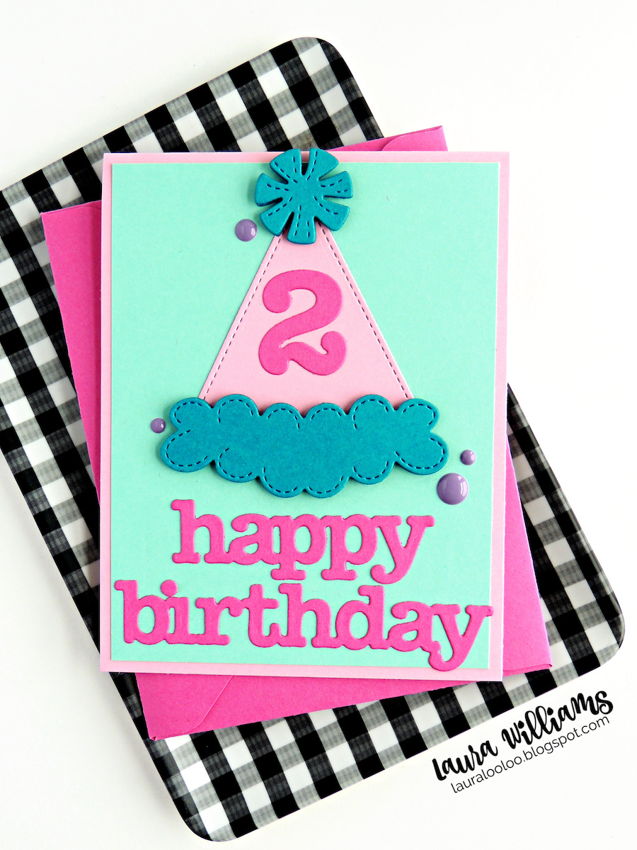 Make the sweetest and most festive handmade birthday cards with the party hat die plus number and birthday word dies from Impression Obsession. Stop by my blog to see lots more inspiration for birthday card ideas!