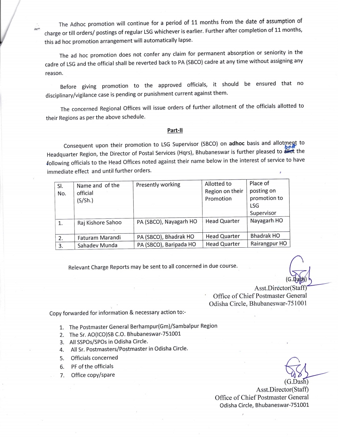 Adhoc Promotion of eligible PAs (SBCO)