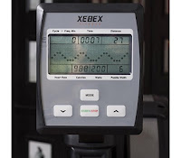 Xebex Air Rower's console displays pace, distance, speed, calories, paddle width, watts, heart-rate
