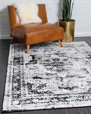 Distressed Black & White Area Rug