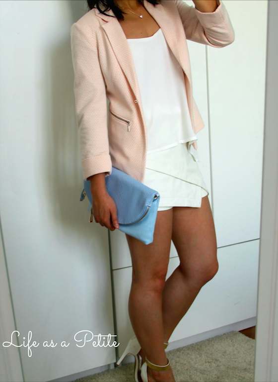 Pale Pink Blazer paired with white asymmetric and layered pieces lifeasapetite