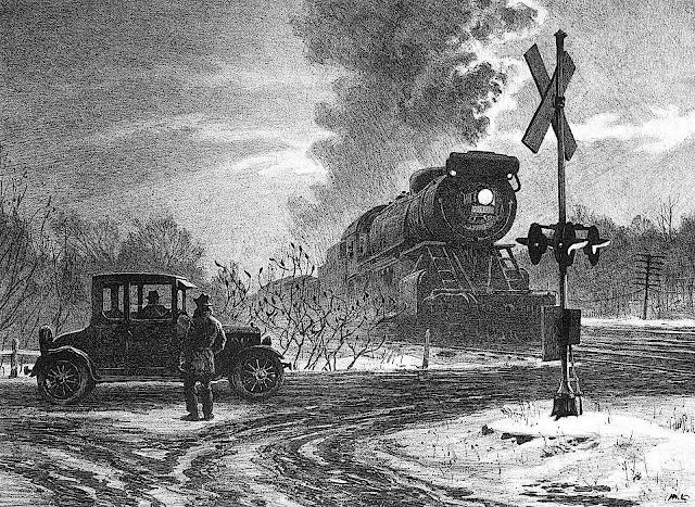 Martin Lewis 1935 art, conversation at a rail crossing